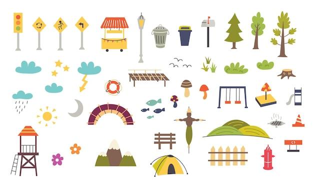 Set di elementi decorativi per la mappa dei bambini. progettazione della scuola materna per il creatore di mappe. illustrazione vettoriale