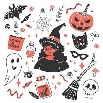 Insieme di elementi decorativi per le celebrazioni di halloween. accessori per le vacanze.