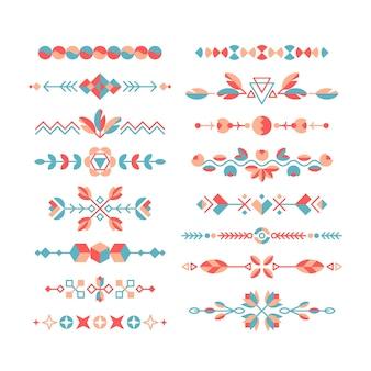 Set di elementi decorativi di design piatto, ornamenti etnici, bordi e divisori