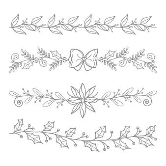 Set di elementi decorativi bordo floreale