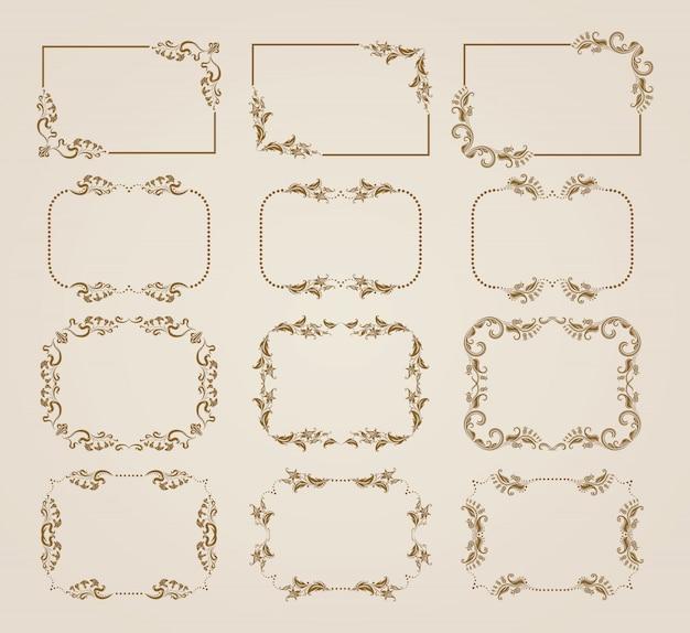 Set di cornici floreali decorativi.