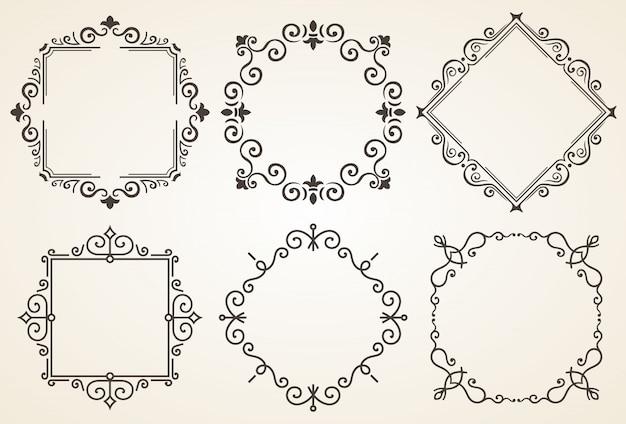 Set di cornici decorative con tutti gli elementi separati
