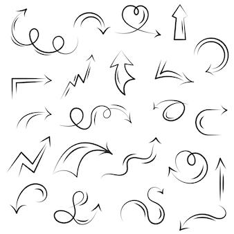 Una serie di frecce guida decorative su e giù circolari e dritte
