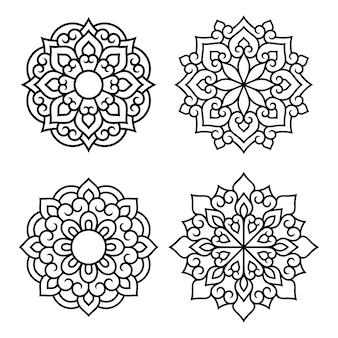 Set di simboli mandala decorativi. elementi di pattern per taglio laser e plotter, goffratura, incisione, stampa su abbigliamento. ornamenti per disegni all'henné in stile orientale.