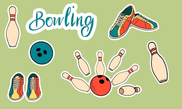 Set dedicato al bowling. illustrazione e scritte isolate