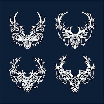 Set di decorazioni in corna di cervo