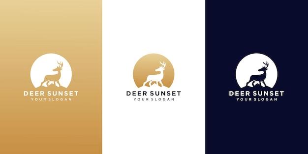 Set di cervi sul modello di progettazione logo tramonto