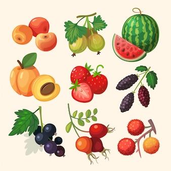 Un insieme di deliziosi frutti di bosco. isolato su sfondo bianco illustrazioni