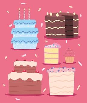 Set di deliziose torte di compleanno