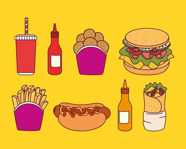 Set di deliziosi fast food in giallo