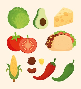 Impostare, deliziosi ingredienti per preparare cibo messicano