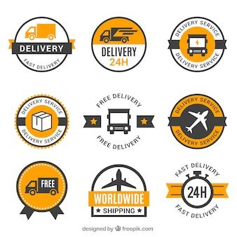 Set di etichette di consegna con stile vintage