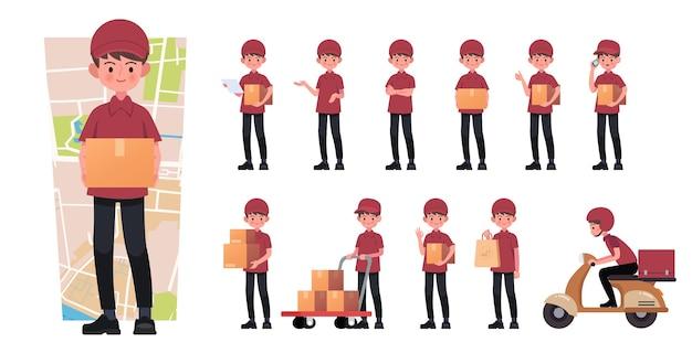 Set di fattorino con cassetta dei pacchi in cartone in diverse pose.