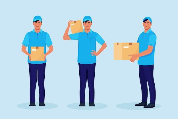 Set di fattorini con scatola di cartone nelle mani. corriere in cap con pacco