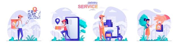 Impostare il concetto di design piatto servizio di consegna illustrazione di personaggi di persone