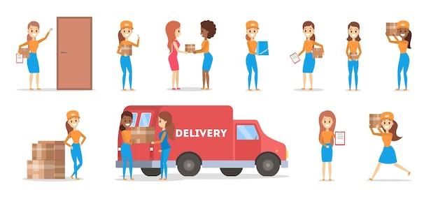 Set di donna di consegna. ritiro del corriere