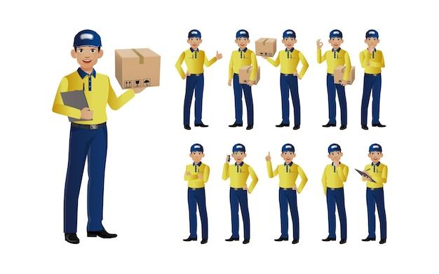 Set di deliveryman con pose diverse