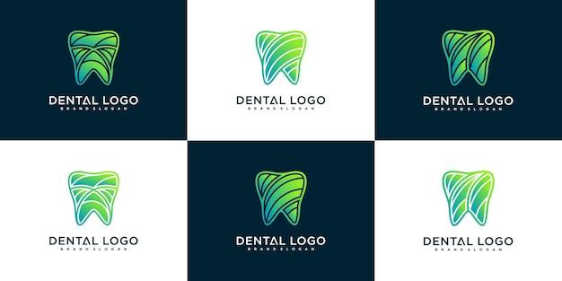 Set di collezione di design del logo dentale con colori sfumati freddi premium vektor