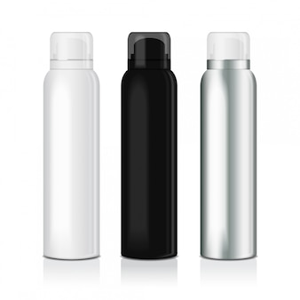 Set di spray deodorante per donna o uomo. modello di bottiglia in metallo con tappo trasparente