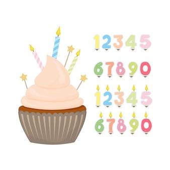 Impostare per il design su un tema di compleanno. tortino festivo. set di candele natalizie sotto forma di numeri. isolato su sfondo bianco. vettore.