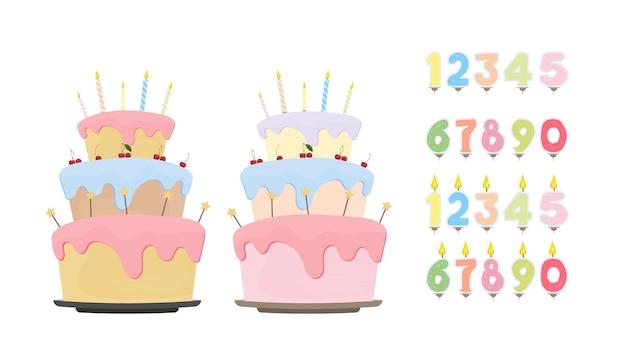 Impostare per il design su un tema di compleanno. torta di festa. set di candele festive sotto forma di numeri. isolato su sfondo bianco. vettore.