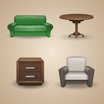 Set di elementi di arredo progettati, icone
