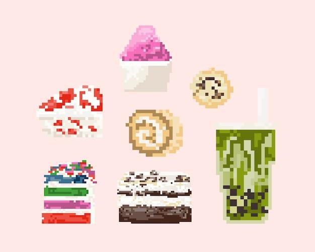 Set di dessert in pixel art. 8 bit art.