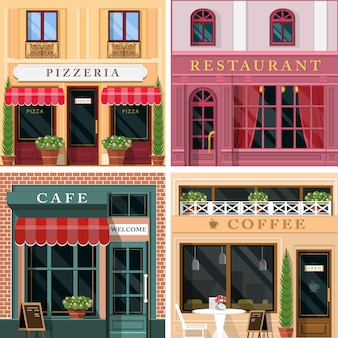 Set di icone di facciata di ristoranti e caffè design piatto dettagliato. fantastico design esterno grafico per attività di ristorazione.