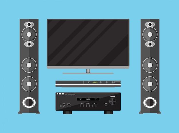 Set di dispositivi home theater dettagliati