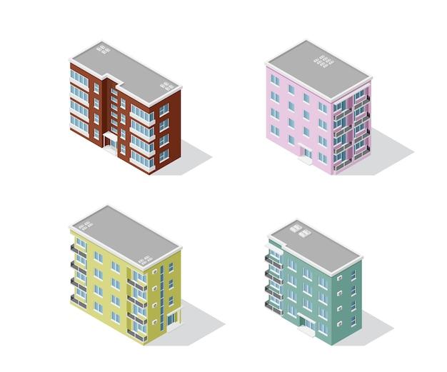 Insieme delle case isometriche dettagliate isolate su backgroung bianco. edificio urbano in poli basso, icona isometrica o elemento infografico per la creazione di mappe della città