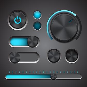 Insieme degli elementi dettagliati dell'interfaccia utente con manopola