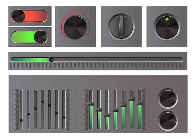 Set di pulsanti web dettagliati, manopole, cursori dell'interfaccia utente ed equalizzatore
