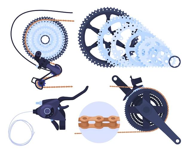 Una serie di dettagli per una trasmissione per bicicletta
