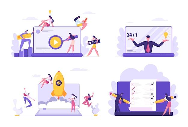 Set of developers group make application illustration