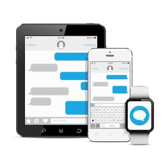 Set di dispositivi con app di messaggistica sms