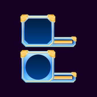 Set di cornice per avatar con bordo dell'interfaccia utente di gioco in oro diamante con barra per elementi di asset gui