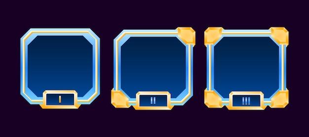 Set di cornice per avatar con bordo dell'interfaccia utente di gioco in oro con diamanti con grado per elementi di asset gui