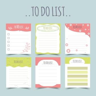 Set di pianificatori di diario e di liste.planner, liste di controllo. isolato. illustrazione.