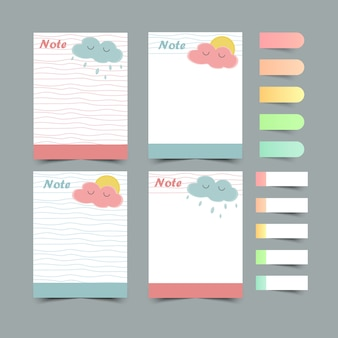 Set di pianificatori di diario e di liste.planner, check lists.sticky note.isolated. illustrazione.