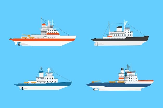 Set di navi rompighiaccio diesel su sfondo blu,