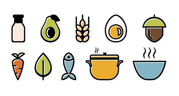 Set di icone di dieta ed etichette degli ingredienti a colori. chetogenico, paleolitico, senza latticini, vegetariano e vegano, pesce e noci, brodo di cottura e ciotola