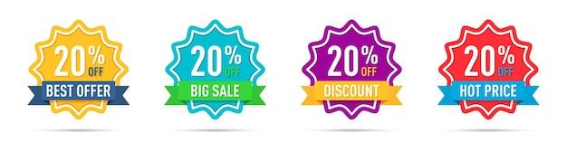 Set di diversi badge di promozione con percentuale di sconto 20