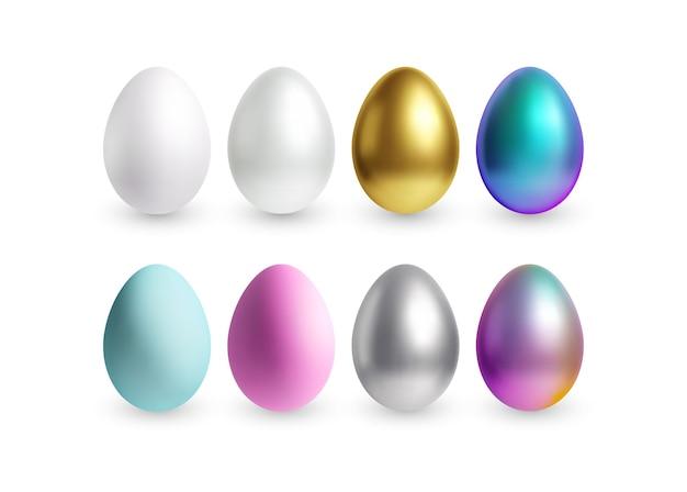 Insieme delle uova di pasqua 3d realistiche, lucide, dorate, olografiche differenti isolate su fondo bianco. illustrazione di vettore eps10