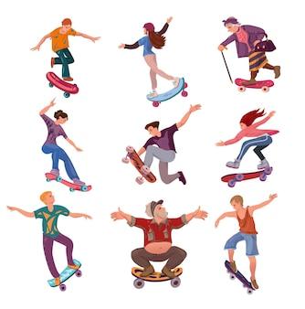 Insieme di persone moderne di età diverse su skateboard nel parco cittadino