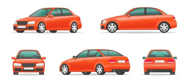 Insieme di diverse angolazioni di un'auto rossa. vista laterale, anteriore, posteriore e di profilo della berlina sportiva da città. veicolo per il tuo progetto. illustrazione vettoriale in stile cartone animato