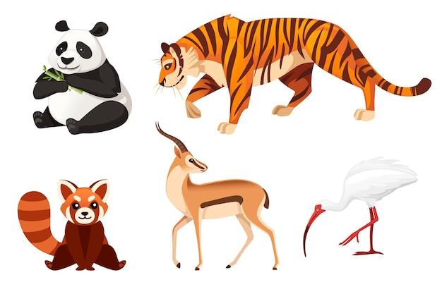 Insieme dell'illustrazione piana di vettore di progettazione del fumetto degli animali differenti isolata su animale selvatico sveglio del fondo bianco.