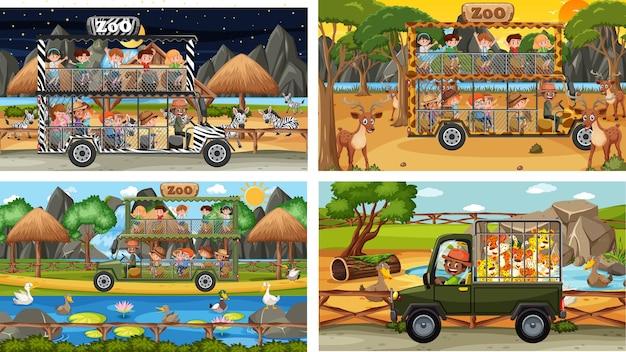 Set di diversi animali in scene di safari con bambini