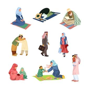 Insieme di diverse persone musulmane arabe nelle attività quotidiane o nei giorni festivi. stile cartone animato.