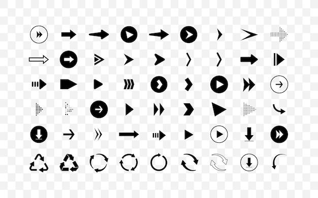 Set di diversi pittogrammi di frecce