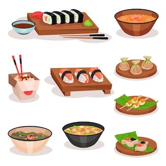 Set di diversi piatti asiatici. sushi, ciotole con zuppe e noodle, gnocchi di gamberi e palline di riso. tema alimentare